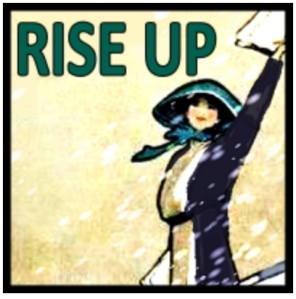 "Suffragette with arm held high in the air, signifying our concert theme of ""Rise Up"""